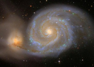 Messier 51, The Whirlpool Galaxy. The SDSS image of this famous spiral galaxy interacting with a smaller neighbor at the lower left.