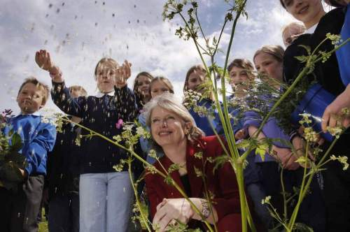 The launch of Scottish Biodiversity fortnight sowing seed at the wildflower meadow.