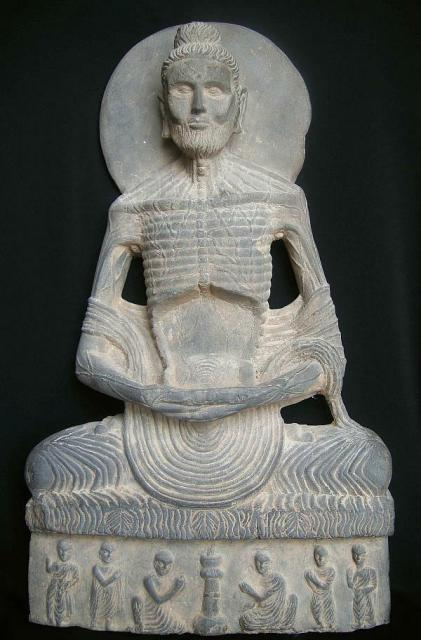 High-classic Gandhara style, Pakistan. Circa 2nd/3rd century AD. Carved from a hard grey schist. Recovered from Swat, Pakistan, early 1960's.